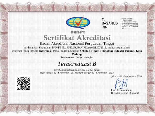 Sertifikat Akreditasi Prodi Sistem Informasi