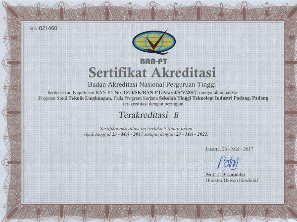 Sertifikat Akreditasi Prodi Teknik Lingkungan