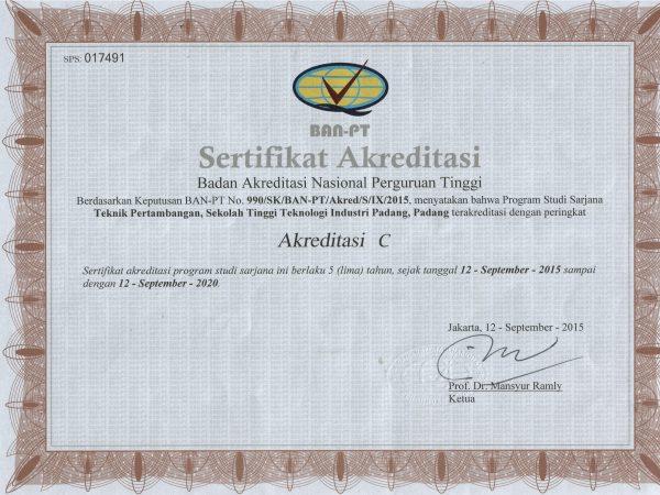 Sertifikat Akreditasi Teknik Pertambangan