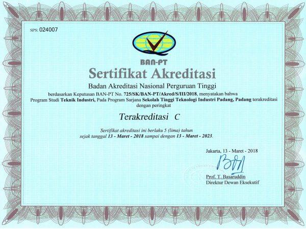 Sertifikat Akreditasi Prodi Teknik Industri
