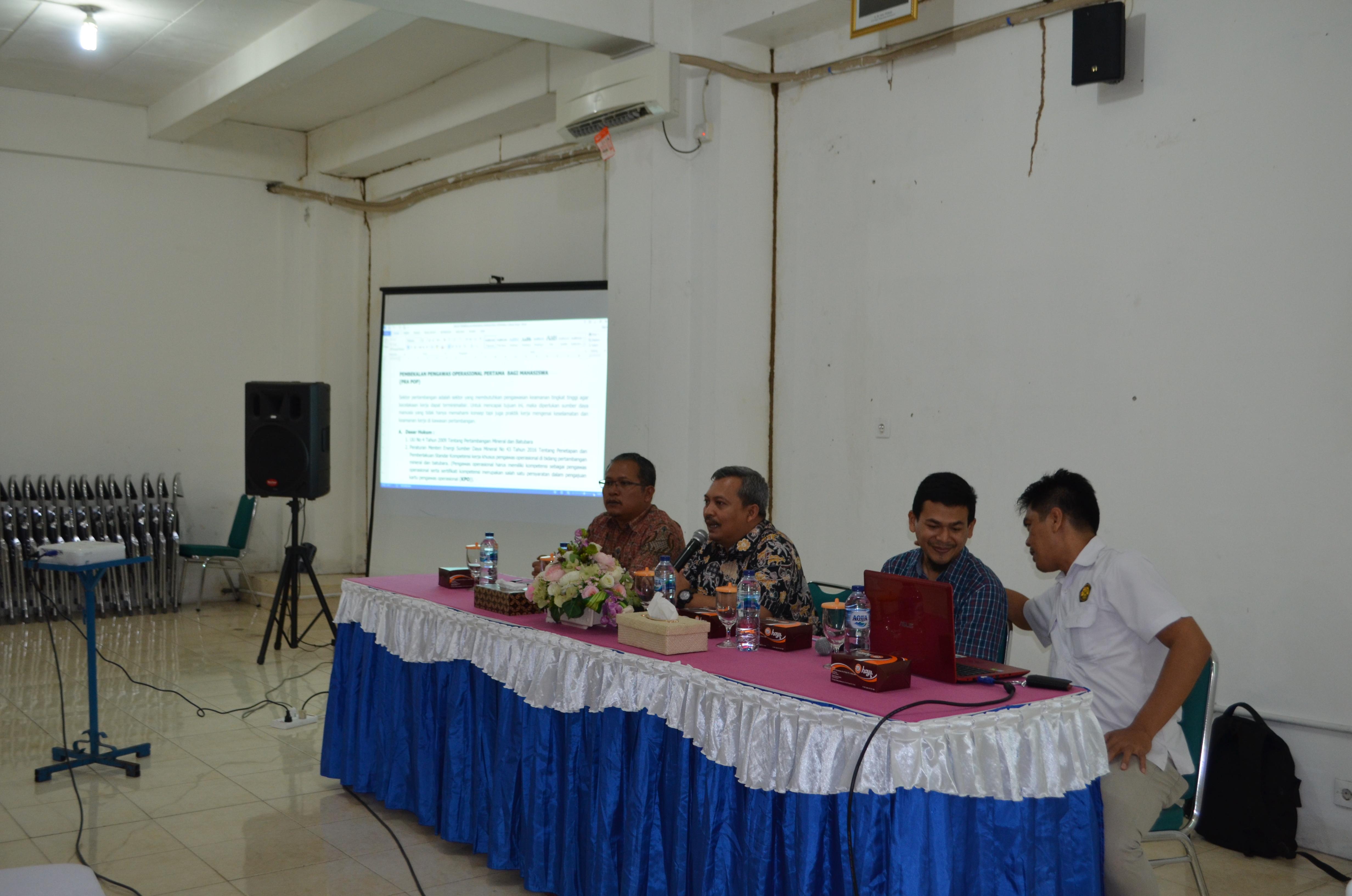 Sosialisasi Pra POP Untuk Mahasiswa Teknik Pertambangan Oleh BDTBT Sawahlunto