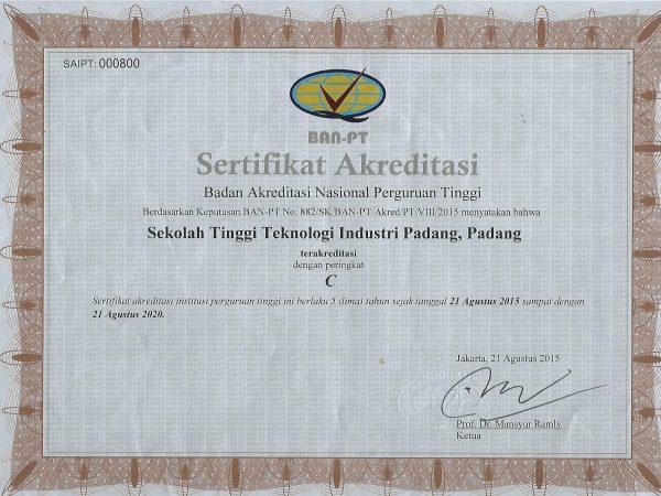 Sertifikat Akreditasi STTIND Padang