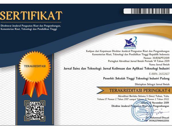 Sertifikat Akreditasi Jurnal Sains Teknologi STTIND PADANG