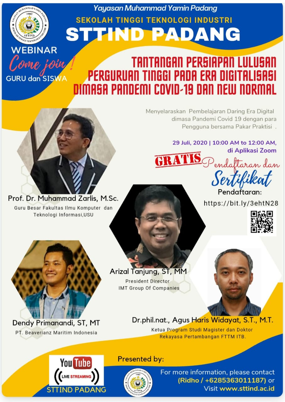 """Webinar STTIND Padang """" Tantangan Persiapan Lulusan Perguruan Tinggi Pada Era Digitalisasi Di Masa Pandemi dan New Normal :"""